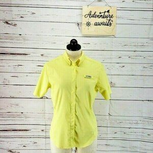 Columbia yellow womens button up collared shirt